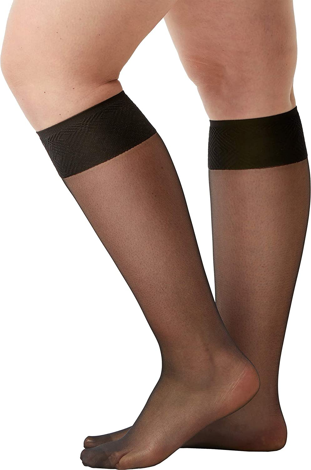 55c522c835e Spanx Women s Sheer Hi-Knee Socks - Two Pack! Black One Size at Amazon  Women s Clothing store