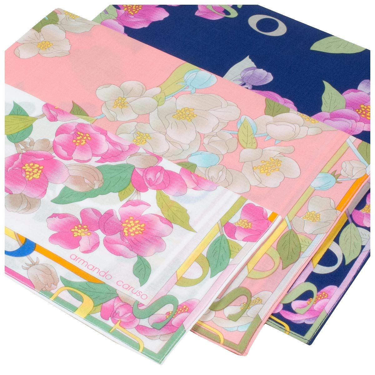 "' Tonami ' Flowered Hankerchiefs - 17"" Square - 3 Units"