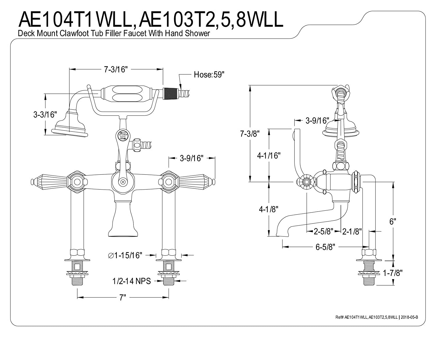 Kingston Brass AE104T1WLL Wilshire Deck Mount Clawfoot Tub Faucet 7 in Spout Reach Polished Chrome