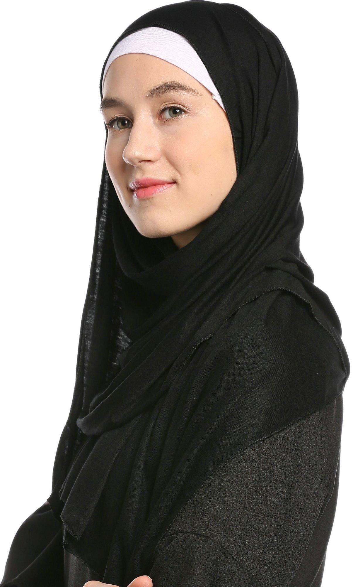 Ababalaya Fashion Womens Lightweight 100%Cotton Jersey Hijab Scarf, Black, One Size by Ababalaya (Image #4)