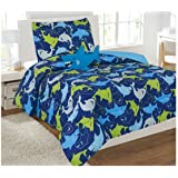 6 Piece Twin Size Comforter and Sheet Set Bed in a Bag with Bonus Stuffed Shark