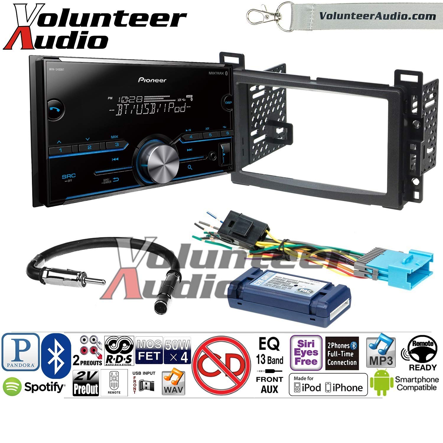 Volunteer Audio Pioneer MVH-S400BT Double Din Radio Install Kit with Bluetooth USB/AUX Fits 2004-2007 Chevrolet Malibu, 2005-2009 Pontiac G6 (with Bose)