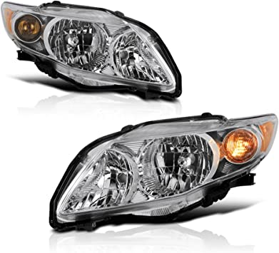 Passenger Side ACANII For Chrome 2009-2010 Toyota Corolla Headlights Headlamps Replacement Driver