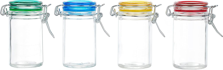 Kinetic 56022 Glassworks 4-Piece Glass Jar Storage Set with Jewel Colored Lid, Clear