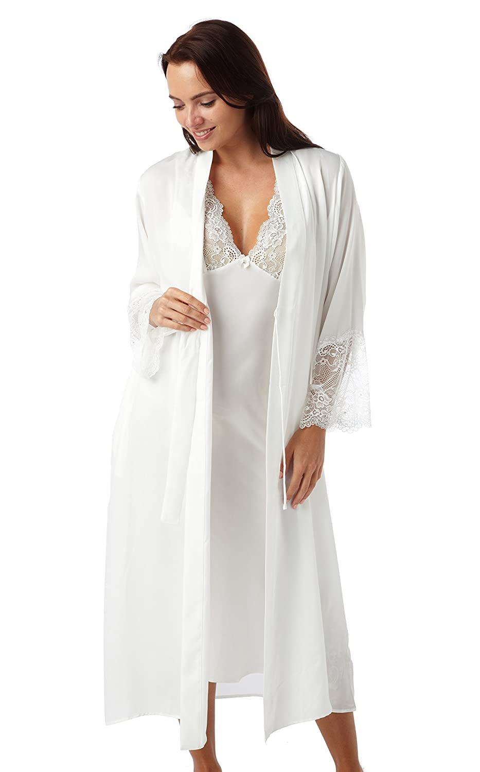 Ladies Luxury Ivory Negligee and Nightdress Set. Sizes 8 10 12 14 16 ...