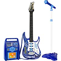 Best Choice Products Kids Electric Guitar Play Set w/ Whammy Bar, Microphone, Amp, AUX, Blue