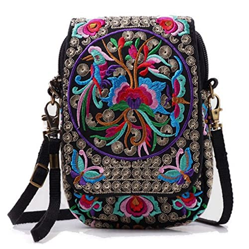 d3e688f55725 Women Embroidery Vintage Printed Handmade Mini Crossbody Bag with  Adjustable Strap (flower)  Handbags  Amazon.com
