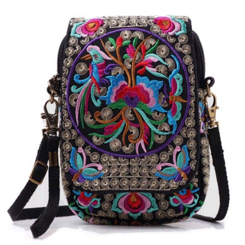 Women Embroidery Vintage Printed Handmade Mini Crossbody Bag with Adjustable Strap (flower)