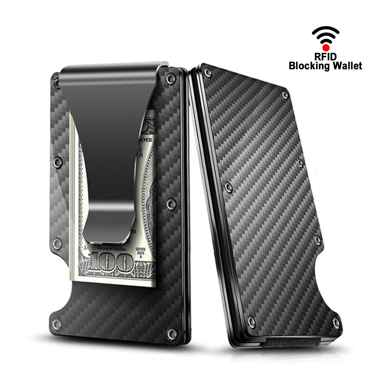 Carbon fiber wallet, Minimalist money clip, Card wallet RFID blocking, bussiness card case wallet for men GKG-Card Case
