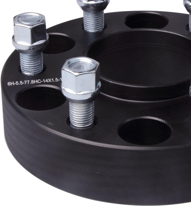 4PC, 1.5 Thick DCVAMOUS 6 Lug Hubcentric Wheel Spacers 6x5.5 with 14x1.5 Studs for Chevy Suburban Silverado 1500 Tahoe GMC Savana Yukon Sierra 1500