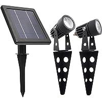 MINI 50X Twin Solar-Powered Cast Aluminium Warm White LED Spotlight 60-100 Lumen Per Light Fixture for Outdoor Garden…