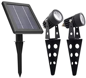 best authentic d3c1a 8a1f3 Mini 50X Twin Solar-Powered Cast Aluminium Warm White LED Spotlight 60-100  Lumen Per Light Fixture for Outdoor Garden Yard Landscape Downlight