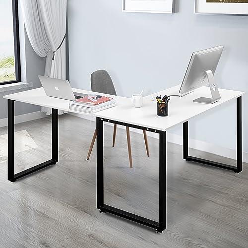 Merax 59 L-Shapped Desk with Metal Legs Office Desk Corner Computer Desk PC Laptop Table Workstation, White Finish