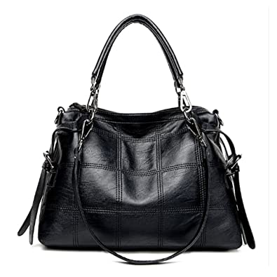 Amazon.com  Voudi Style 3-Way Women s Genuine Leather Satchel Tote Handbag  Top Handle Bag Hobo Handbag Shoulder Bag Designer Purse (Black)  Shoes ce3a6d273cd34