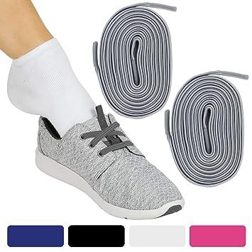 Vive Elastic Shoe Laces (Gray Pair) - No Tie, Lace Up, Flat