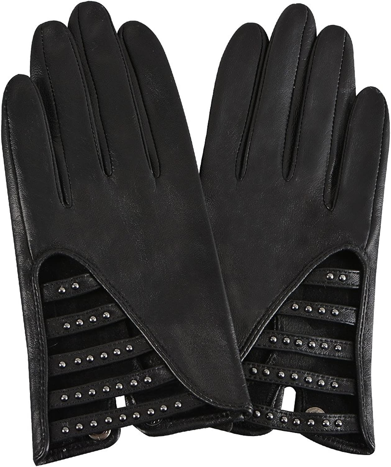 FIORETTO Womens Authentic Leather Gloves Lace Embroidery Unlined