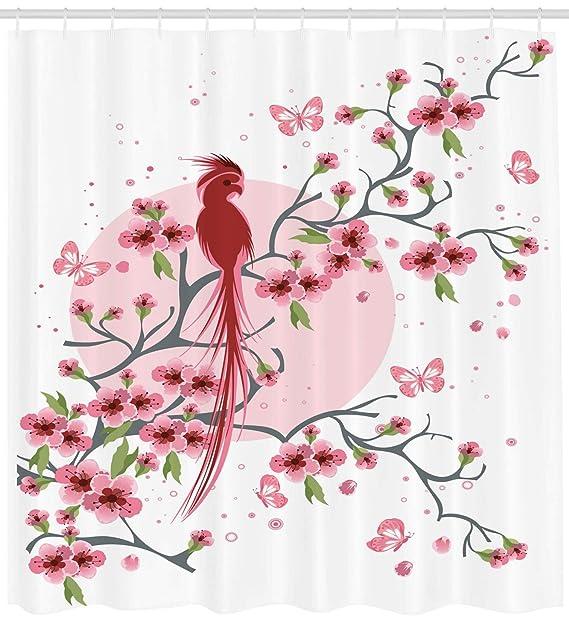 Abakuhaus Japonés Cortina de Baño, Ave Fénix Mítico Legendario Longevo en Rama de Sakura Florido Mirando hacia Atrás Arte, Material Resistente al Agua ...