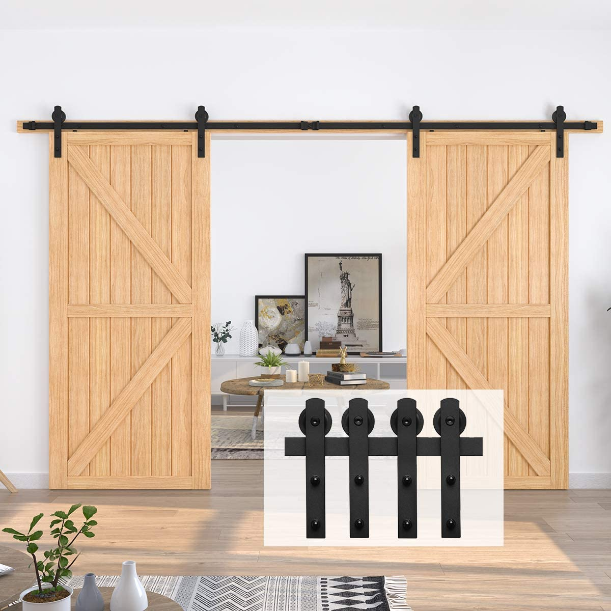 Double Door-Smoothly and Quietly HomLux 6.6ft Heavy Duty Sturdy Sliding Barn Door Hardware Kit Black I Shape Hanger Easy to Install and Reusable Fit 1 3//8-1 3//4 Thickness /& 20 Wide Door Panel