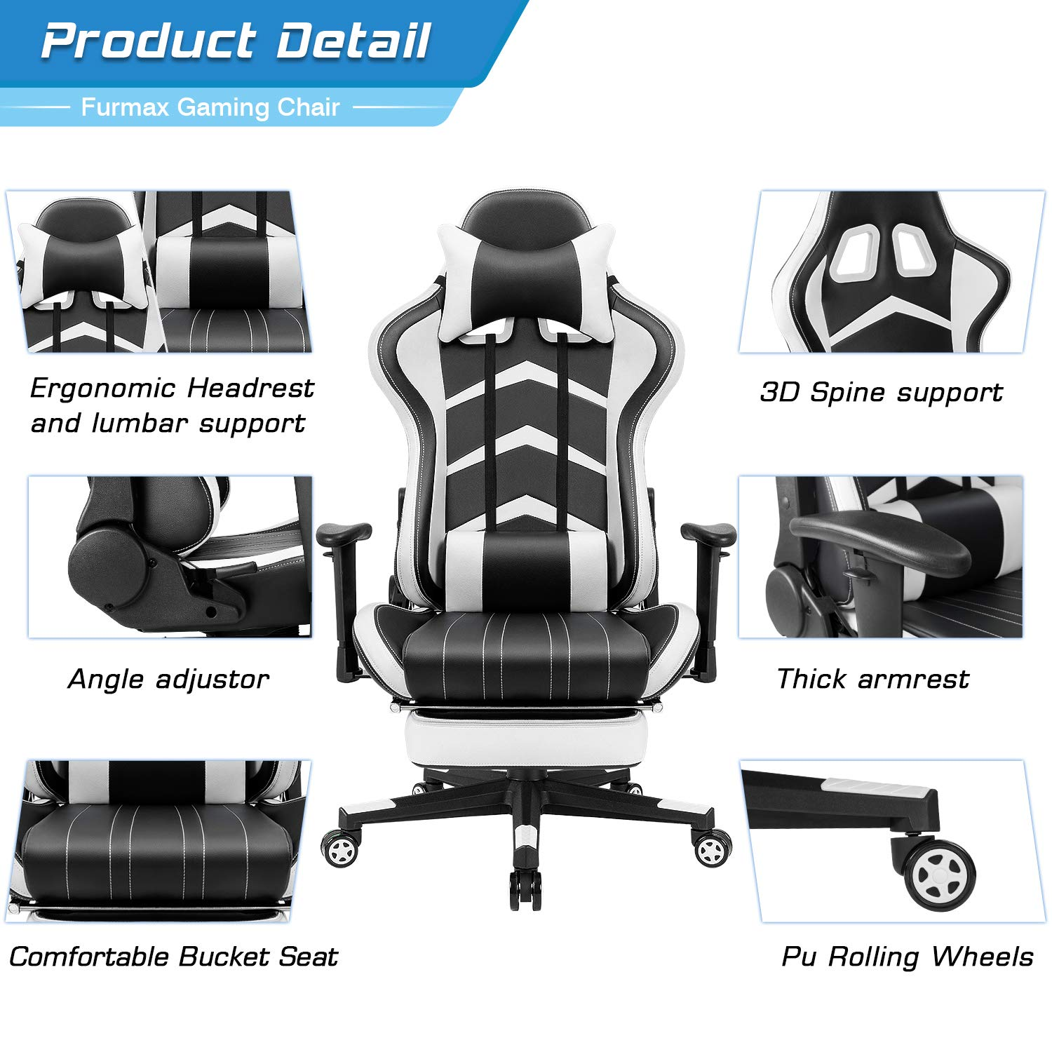 Blue Furmax Gaming Chair High Back Racing Chair,/Ergonomic Swivel Computer Chair Executive Leather Desk Chair with Footrest Bucket Seat and Lumbar Support