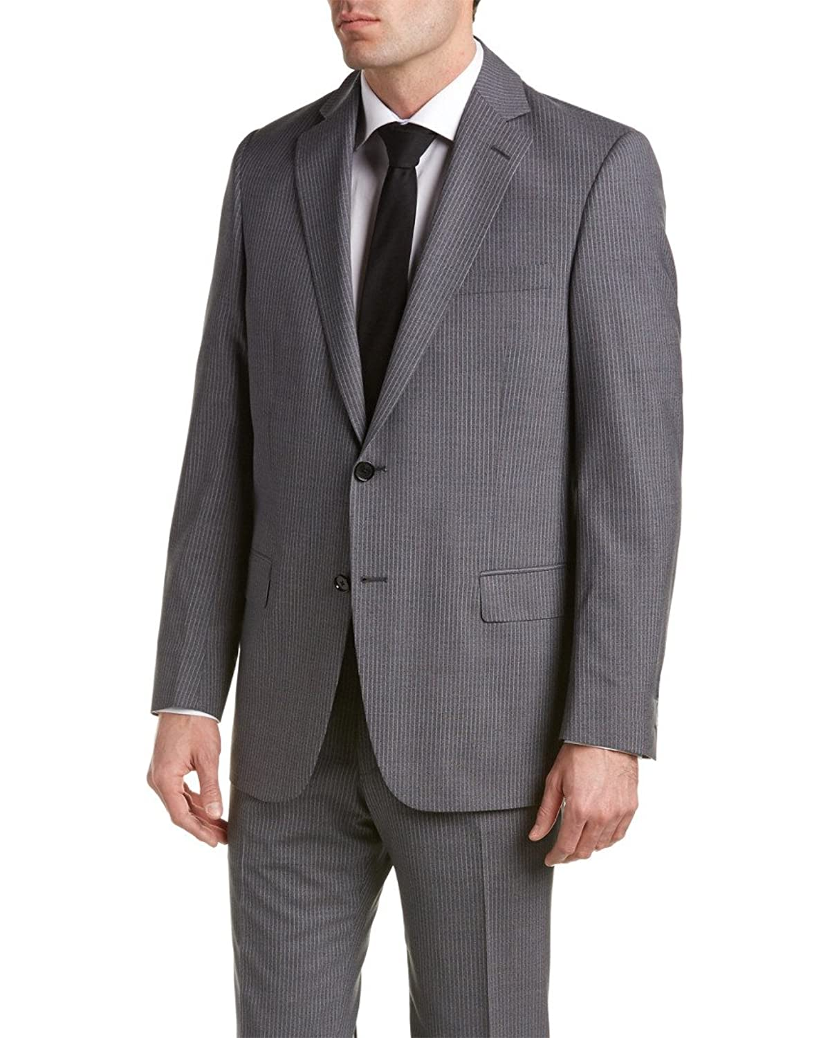 Hart Schaffner Marx Mens Wool-Blend Suit With Flat Front Pant, 42R, Grey
