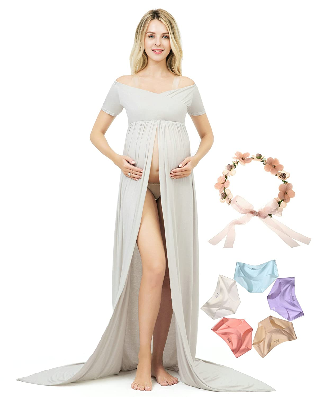 Sannyway Photography Maternity Dress Front Split Short Sleeve Photoshoot Gown