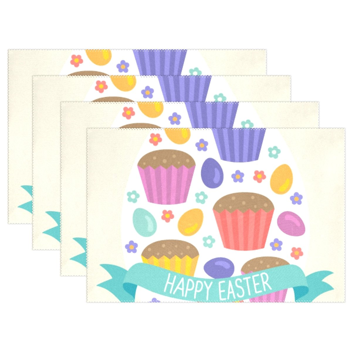 4pcs Happy Easter Rabbiteプレースマット – 12 x 18in – Washable Heat Crease Resistant Printed Place Mat forキッチンディナーテーブルby Top Carpenter 18 x 12 in Tablemattt-0221D-405 18 x 12 in Pattern 05 B079YZV316
