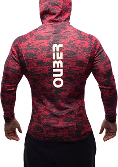 Ouber Mens Camo Gym Hoodies Zip-up Workout Bodybuilding Fitted Muscle Hooded Jacket