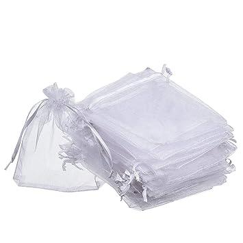 Lvcky - Bolsas de Organza para Regalo, Color Blanco, para ...