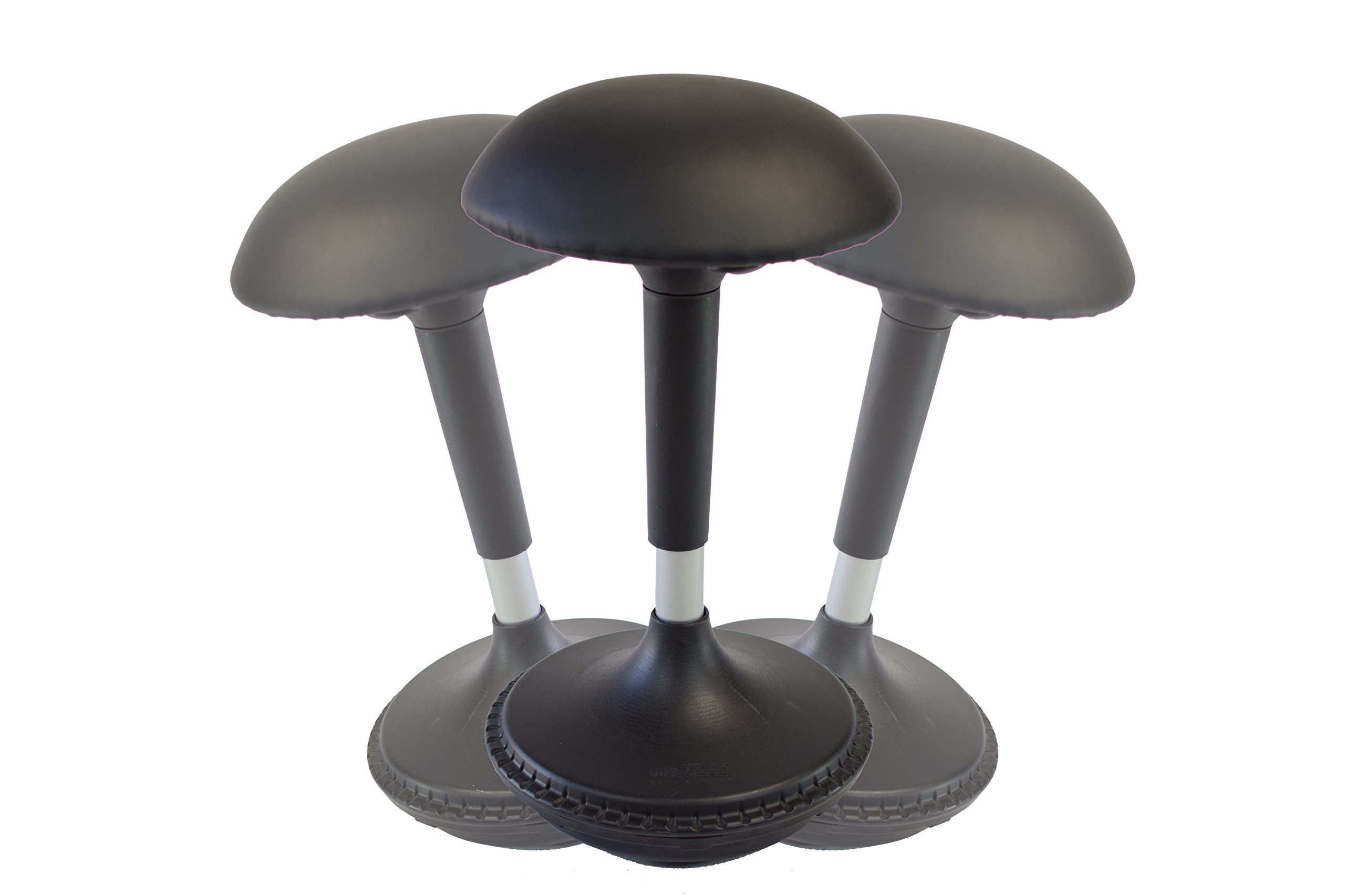 Uncaged Ergonomics WOBBLE STOOL 2 Leather Seat -Adjustable Height Active Sitting Balance, Perch, Standing Desk & Office Swivel Chair (Black Leather)