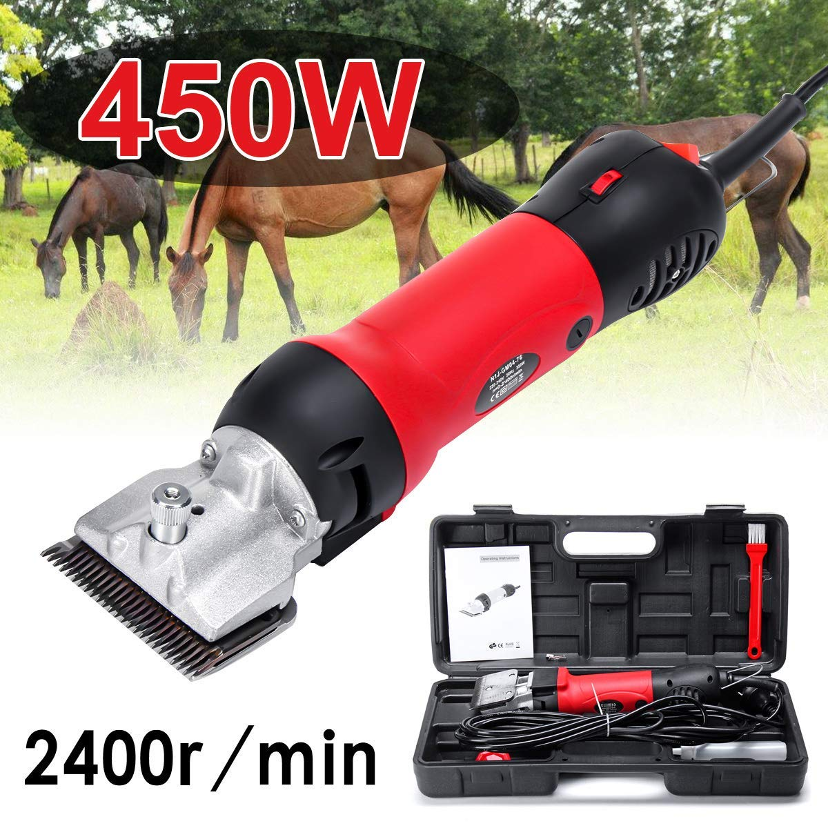 HONGHUIYU I Electric Horse Clippers,Livestock Shears 110-240V 450W 2400R Min 6 Adjustable Speed For Equine,Cattle,Camel