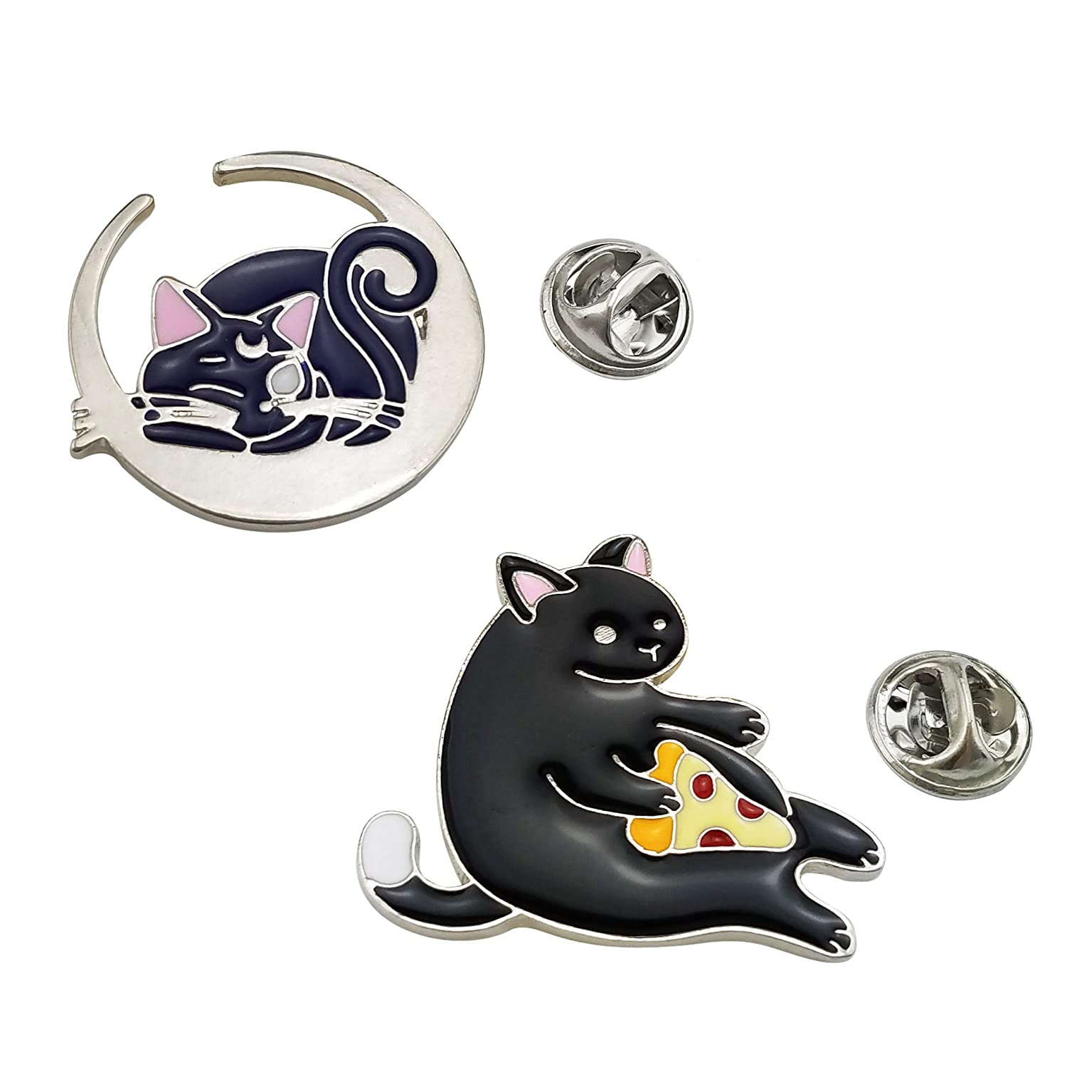 HAISWET Moon Cat Cake Cat Pet Black Enamel 2 Lapel Pin Set Brooch Silver Tone Ltd. L-BO-014