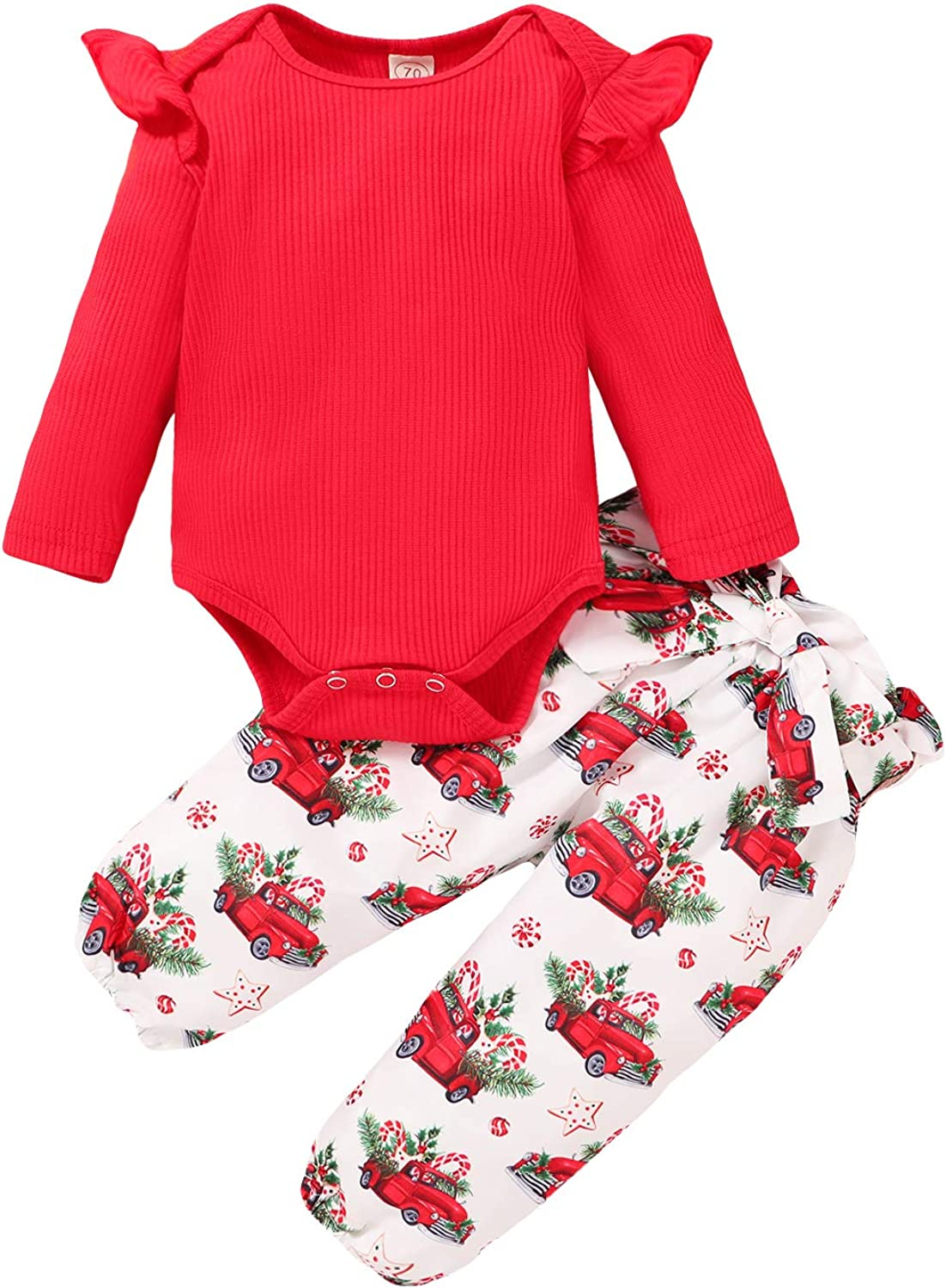 3pcs Baby Girl Colthes Ruffle Ribbed Knit Romper Top Cotton Cute Pant Set Headband Toddler Outfits