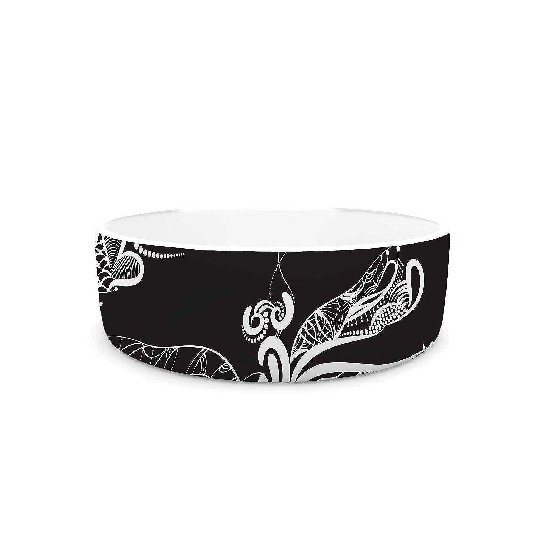 KESS InHouse Maria Bazarova Insects  Black Animals Pet Bowl, 7