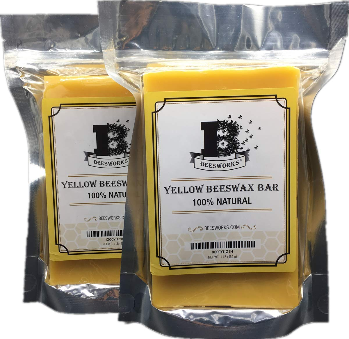 Beesworks-2 Pack-Yellow Beeswax Bars 1LB - (2 LBS Total) - 100% Pure, Cosmetic Grade...