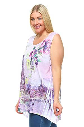 b657deca ALLBrand Women's Plus Size Sleeveless Scoop Neck Tank Top Sublimation Print  Top Tee (Eiffel Top