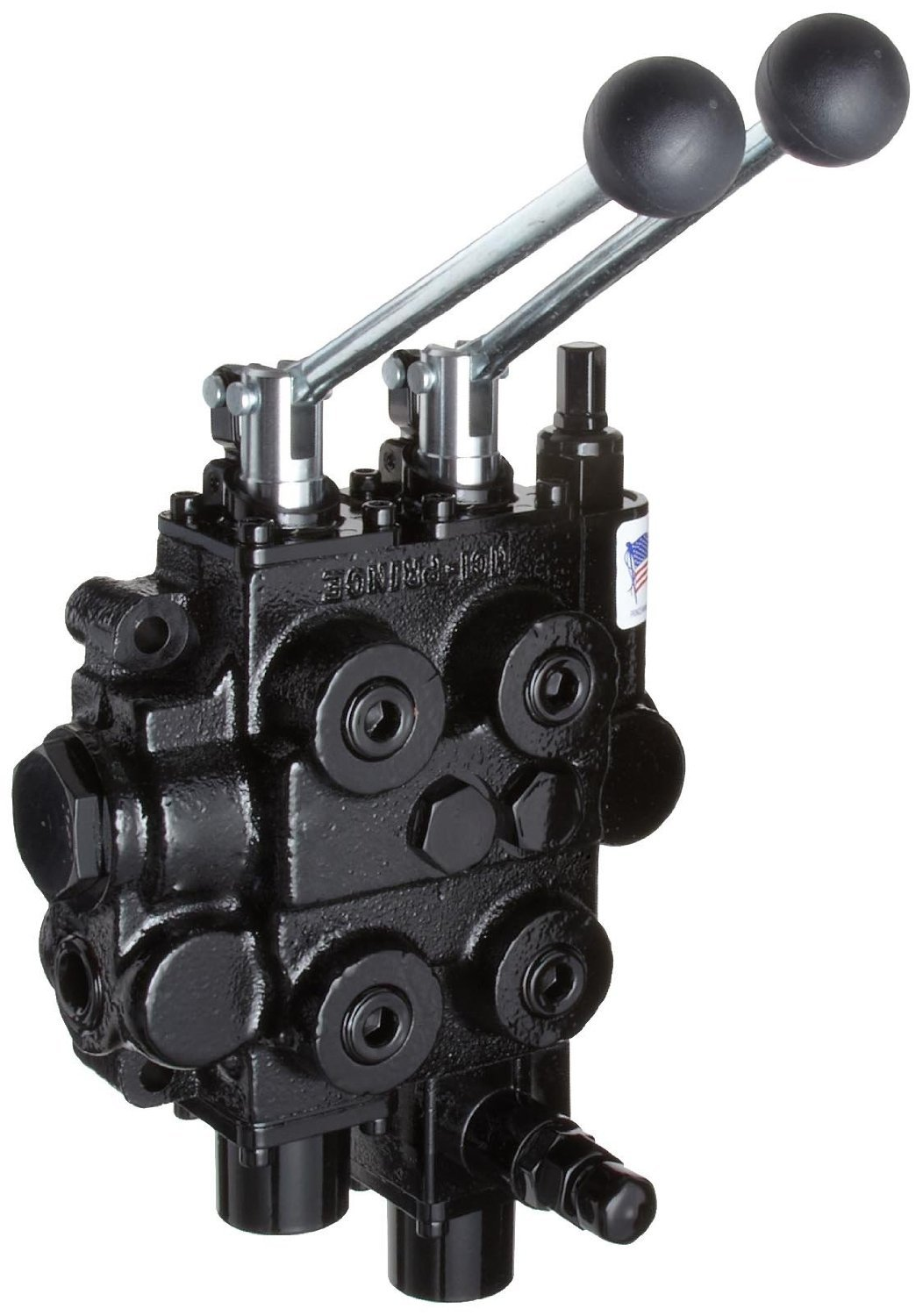 Prince RD522CCAA5A4B6 Directional Control Valve, Monoblock, Cast Iron, 2 Spool, 4 Ways, 3 Positions, Tandem, Spring Center, Joystick Handle, 3000 psi, 25 gpm, In/Out: 3/4'' NPT Female, Work 1/2'' NPT Female by Prince Manufacturing (Image #2)