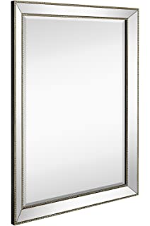 large framed wall mirror with angled beveled mirror frame and beaded accents premium silver backed - Mirror Frame
