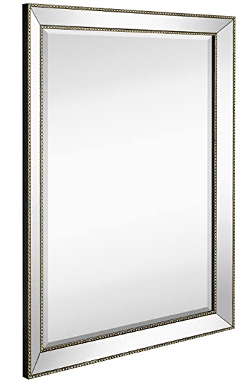 Amazon Com Large Framed Wall Mirror With Angled Beveled Mirror