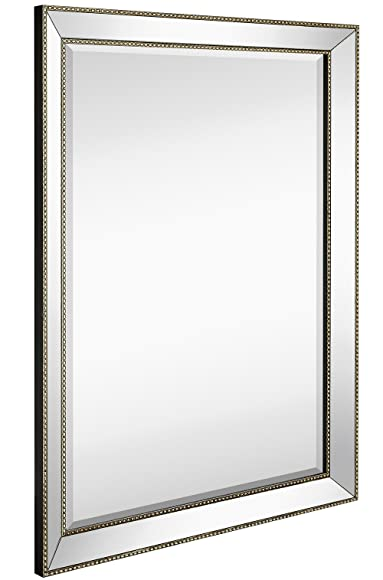 Large Framed Wall Mirror with Angled Beveled Mirror Frame and Beaded Accents | Premium Silver Backed Glass Panel | Vanity, Bedroom, or Bathroom | Mirrored Rectangle Horizontal or Vertical (30