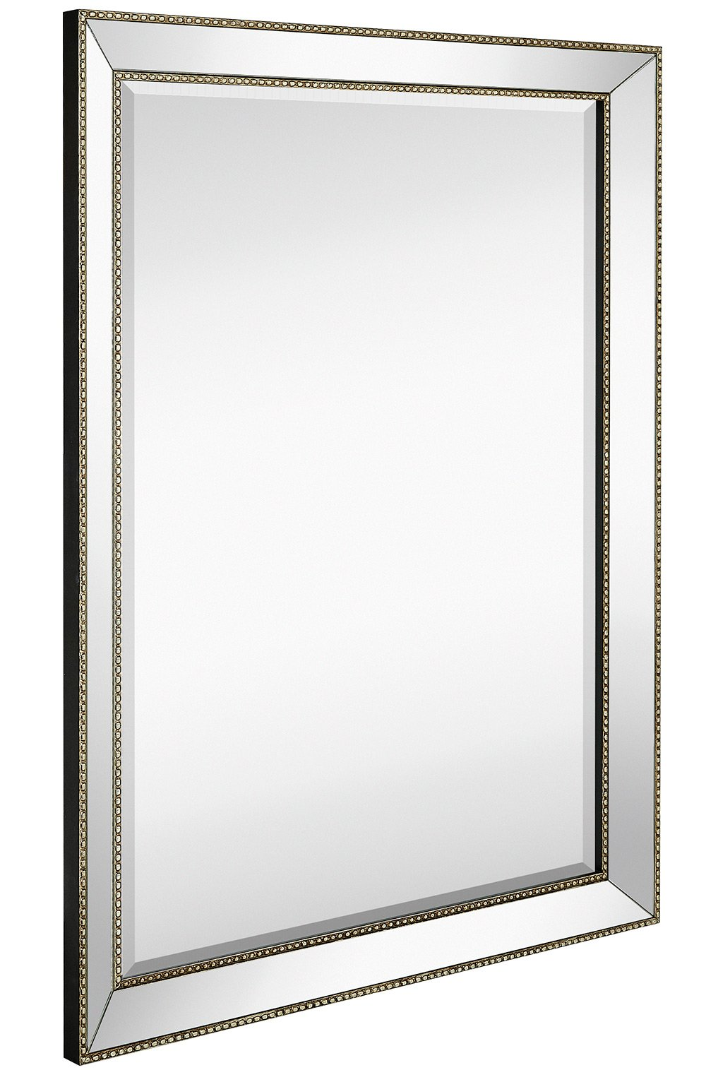 Large Framed Wall Mirror with Angled Beveled Mirror Frame and Beaded Accents | Premium Silver Backed Glass Panel | Vanity, Bedroom, or Bathroom | Mirrored Rectangle Horizontal or Vertical (30''x40'')