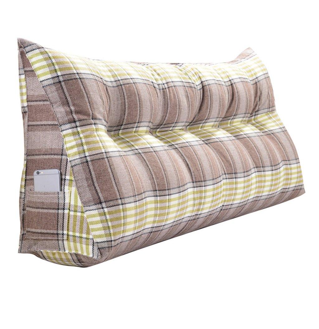 抱き枕 大型トライアングルピローバックサポートクッションを読む枕として腰部クッションネックピローヘッドボードパッド付きダブルベッドバックレストウォッシャブル(ブラウングリッド) (サイズ さいず : 180×50×20cm) 180×50×20cm  B07FNFTGHN