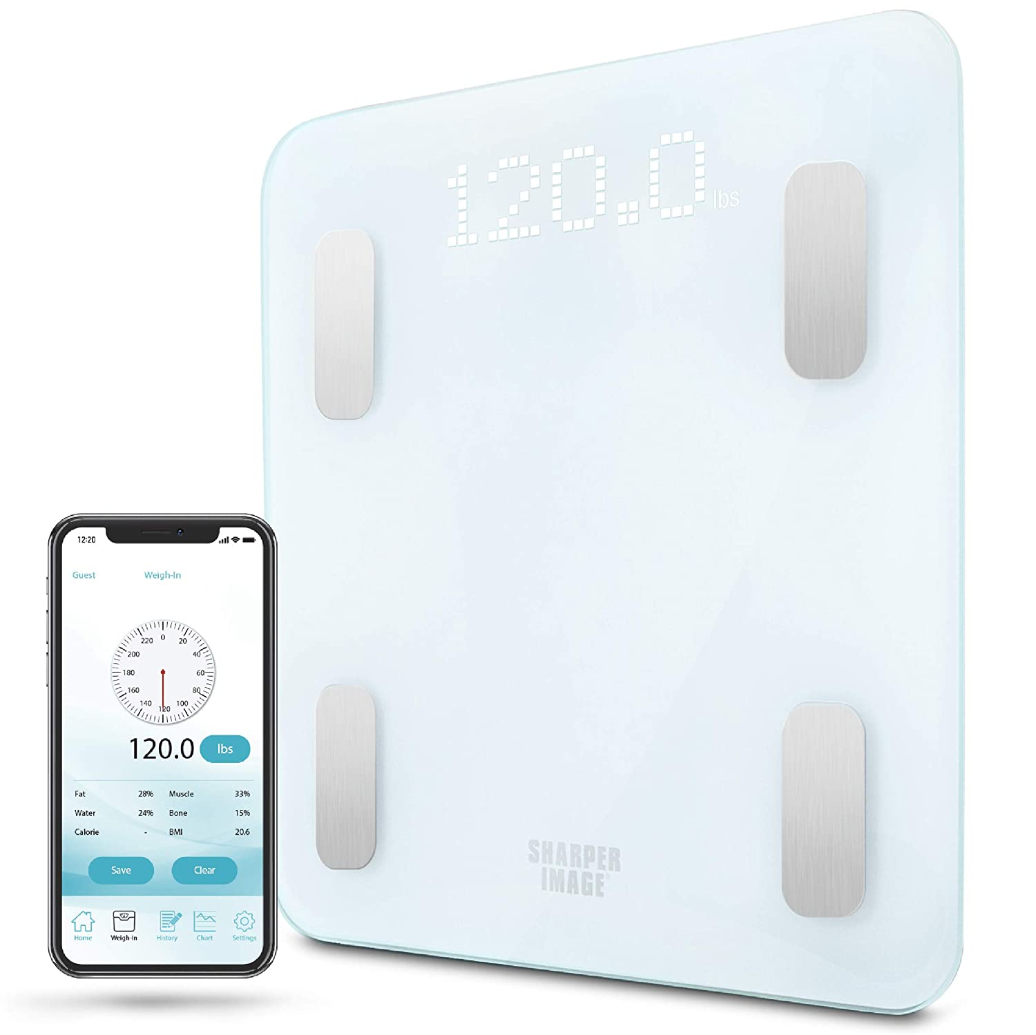 SHARPER IMAGE Digital Bathroom Scale, Tracks Weight, Body Fat BMI, Bluetooth Android iOS App Compatible