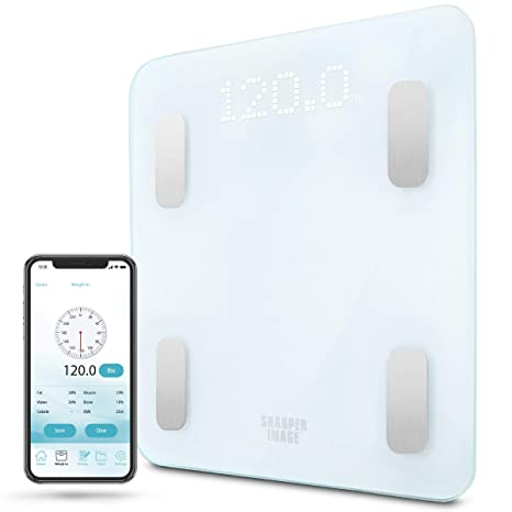 Digital Weight Scale SHARPER IMAGE Bathroom Bluetooth/Android & iOS App  Compatible, Tracks Body Fat, BMI, Bodyweight for Health and Fitness  Success,