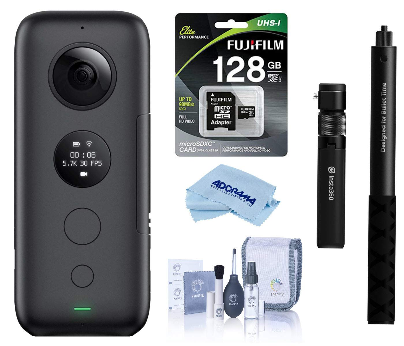 Insta360 ONE X Action Camera (CINONEX/A) - Bundle Bullet Time Handle/Folding Tripod with Selfie Stick, 32GB MicroSDHC U3 Card