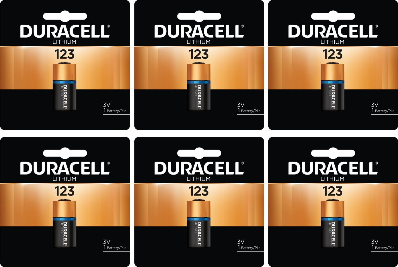 6 Duracell CR123A DL123A 3 Volt Photo Lithium Batteries in Original Packaging