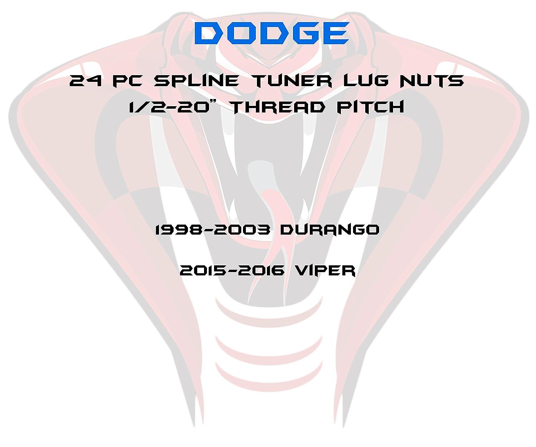 Set of 24 1//2-20 Chrome 6 Spline Security Lug Nuts with Two Locking Socket Keys Fits Dodge Durango Viper 1998-2003 Aftermarket Wheels