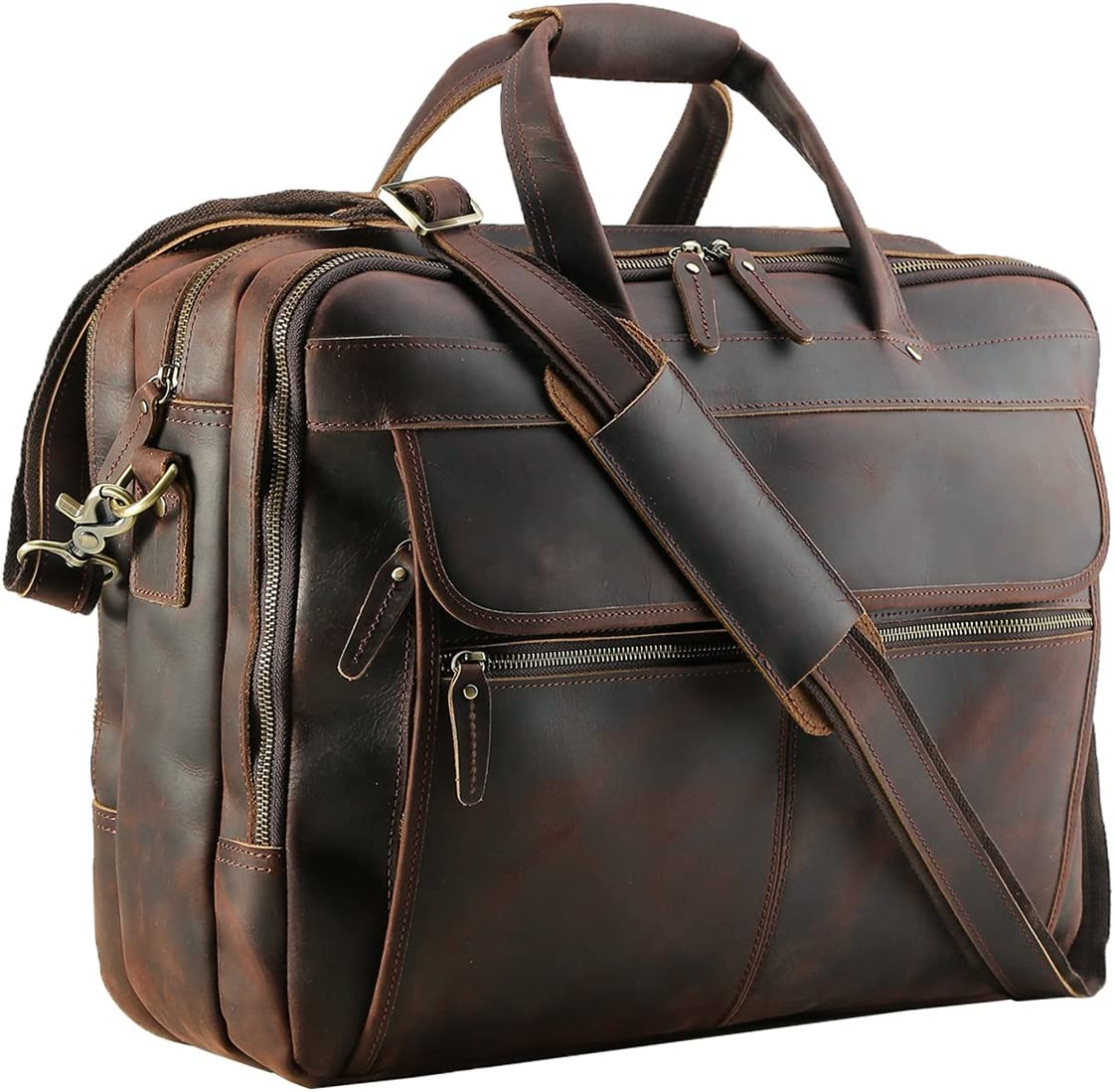 "Polare Men's Thick Full Grain Leather 17.3"" Laptop Business Briefcase with YKK Metal Zippers"