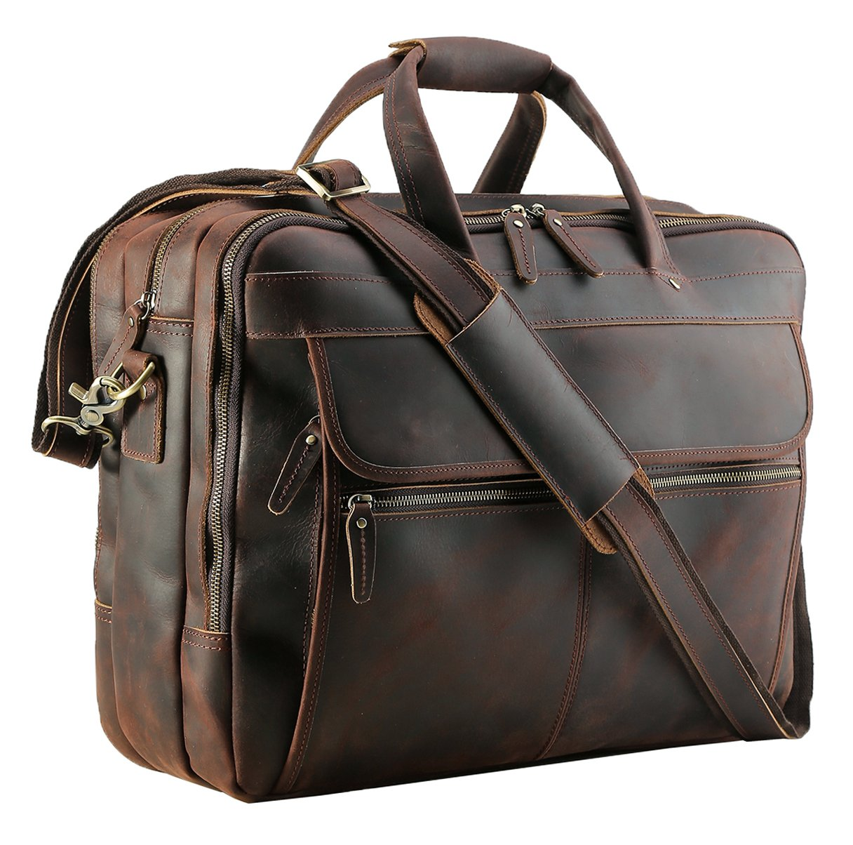 Polare Men's Thick Full Grain Leather 17.3'' Laptop Business Briefcase with YKK Metal Zippers by POLARE ORIGINAL