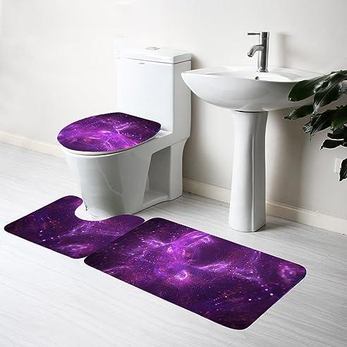 Badezimmer Teppich Set Badematte Rutschfester Badvorleger Badematten Set  3tlg Moderner Duschvorleger Sternenhimmel 3 Teilig Bad
