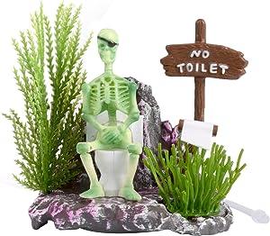Aquarium Ornament Saim Pirate Skeletons on Toilet Live Action